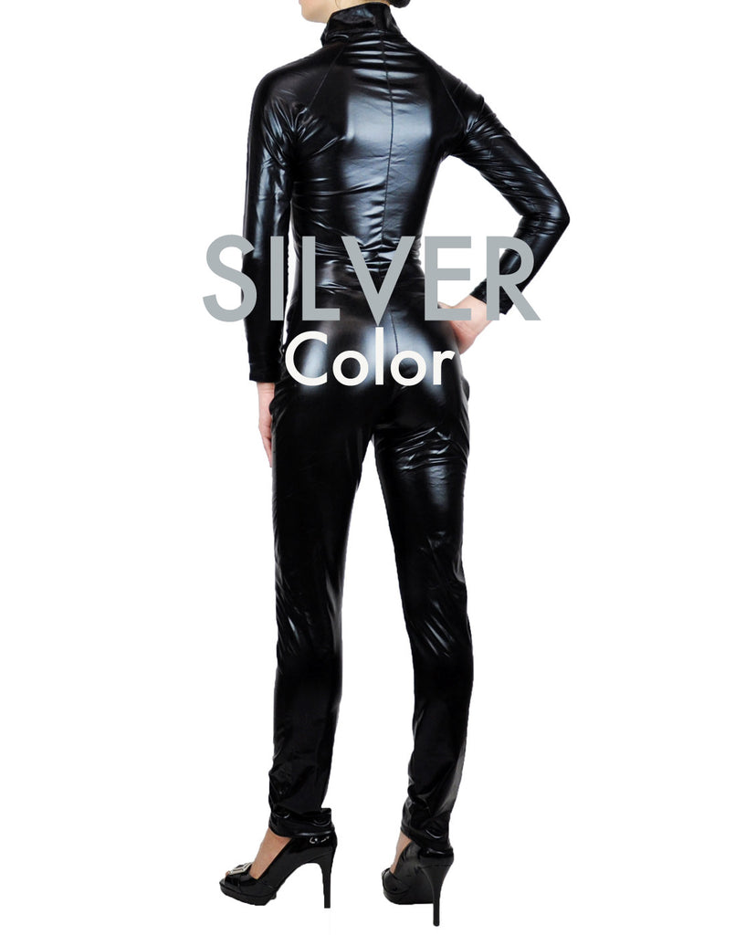 Silver Metallic Wet Look Fetish Super Hero Bodysuit Catsuit Costume