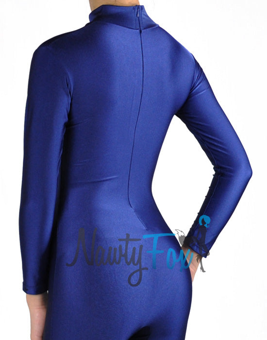 Shiny Spandex Navy Blue Mock Neck Long Sleeve Unitard Bodysuit Costume Dancewear-Reg and Plus Size