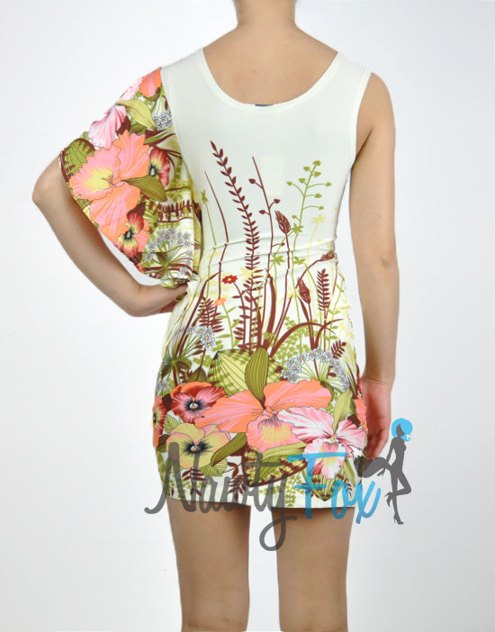 One Shoulder Beige Tropical Dress