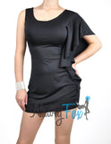 One Shoulder Black Ruffle Dress