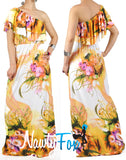 Orange Flower One Shoulder Ruffle Maxi Dress