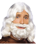 Biblical Mens White Beard Wig Set