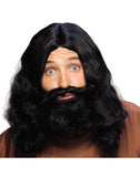 Biblical Mens Black Beard Wig Set