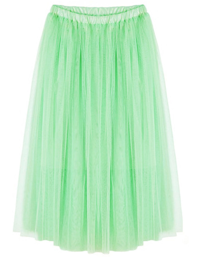 Mint Long Tulle Petticoat Tutu Skirt