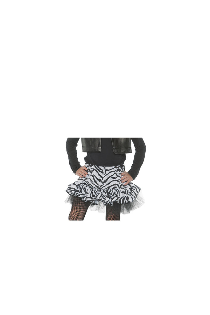 80s Zebra Girls Child White Costume Skirt