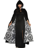 Deluxe Black Velvet White Satin Flocked Vampire Halloween Cape
