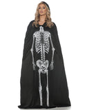 Black Adult Hooded Skeleton Cape