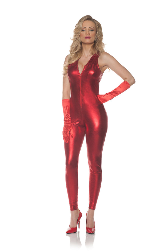Red Sleeveless Metallic Womens Adult Costume Jumpsuit