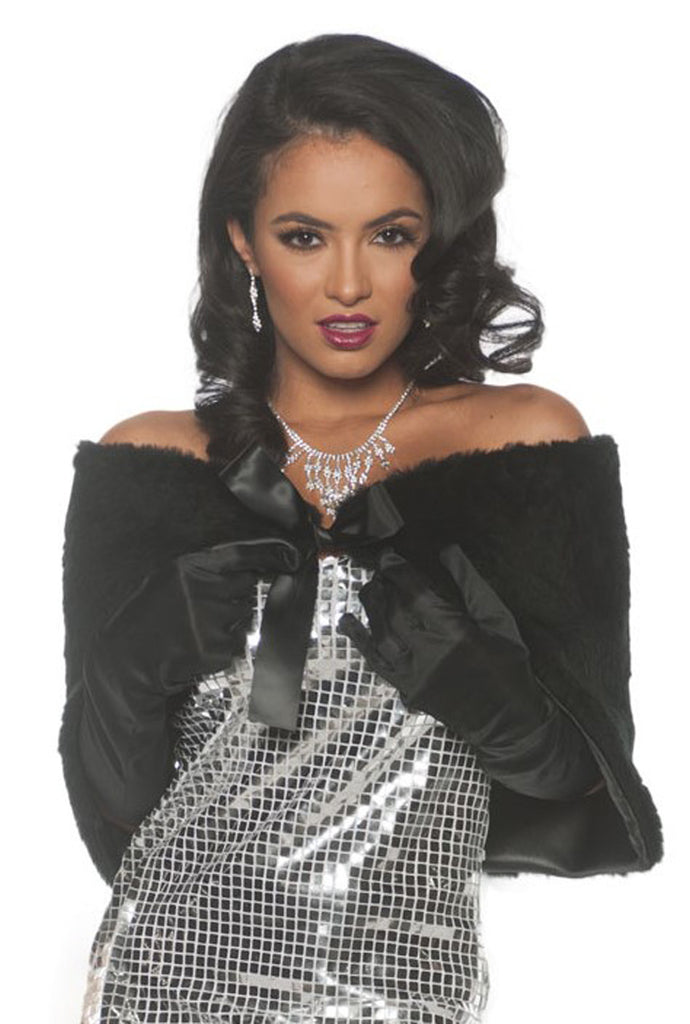 Black Faux Fur Adult Diva Costume Wrap