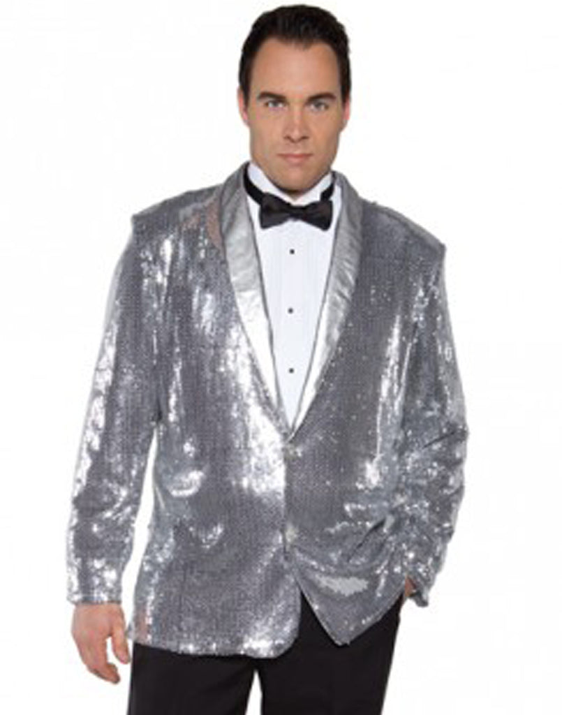 Jazz Disco Sequin Pimp Jacket -Silver OS