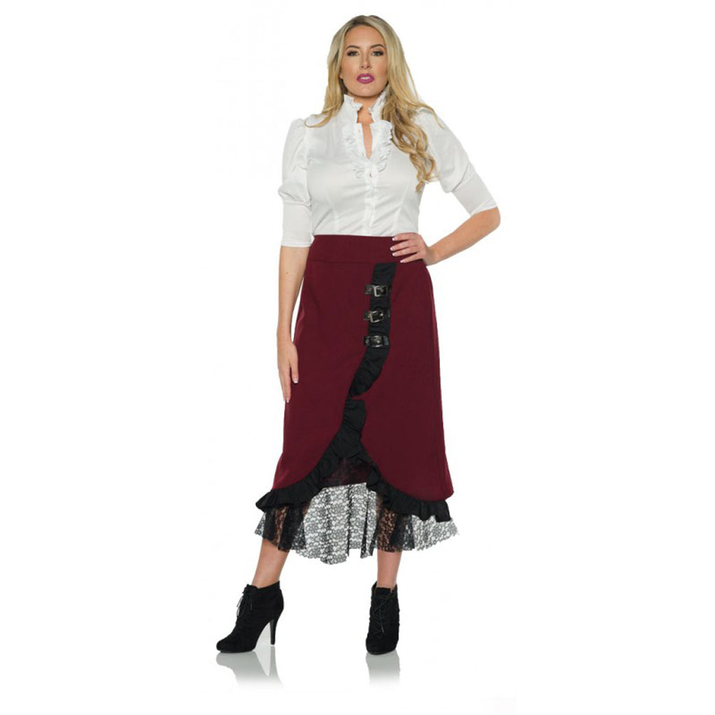 Burgundy Steampunk Adult Lace Skirt