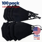 [100 PACK] Black Cotton Double Layer Mask