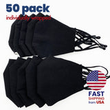 [50 PACK] Black Cotton Double Layer Mask
