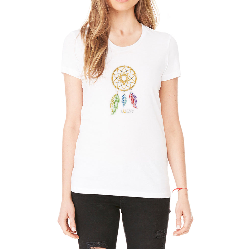 "Rhinestones <font face=""Times New Roman""> <i> Lucky Dream Catcher </i> </font> Scoop Neck T-shirt. Made by Lucky Gambler."
