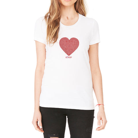"RHINESTONES <font face=""Times New Roman""> <i> Lucky Heart </i> </font> Scoop Neck T-Shirt"