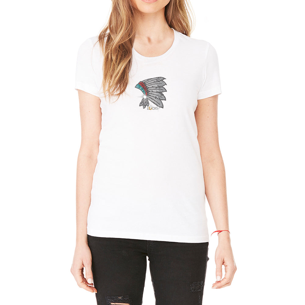 "Rhinestones <font face=""Times New Roman""> <i> Lucky Headdress </i> </font> Scoop Neck T-Shirt. Made By Lucky Gambler"