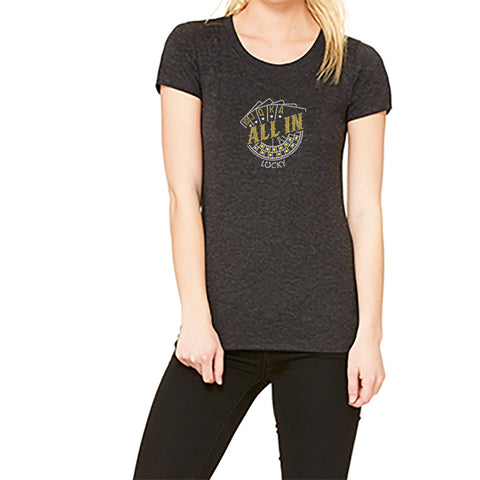 "Rhinestones <font face=""Times New Roman""> <i> Lucky ALL IN </i> </font> Scoop Neck T-Shirt. Made by Lucky Gambler"