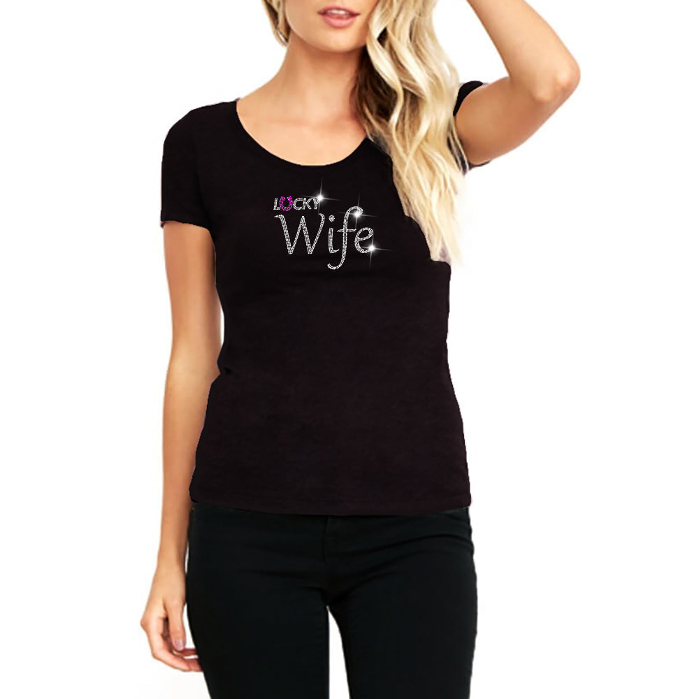 "RHINESTONES <font face=""Times New Roman""> <i> Lucky Wife </i> </font> Scoop Neck T-Shirt"