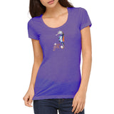 "Rhinestones <font face=""Times New Roman""> <i> Lucky Girl </i></font> Scoop Neck T-Shirt. Made by Lucky Gambler"