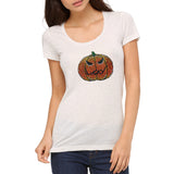 "Rhinestones <font face=""Times New Roman""> <i> Halloween Pumpkin </i> </font> Scoop Neck T-Shirt"