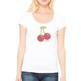 "Rhinestones <font face=""Times New Roman""> <i> Lucky Cherries </i> </font> Scoop Neck T-Shirt"