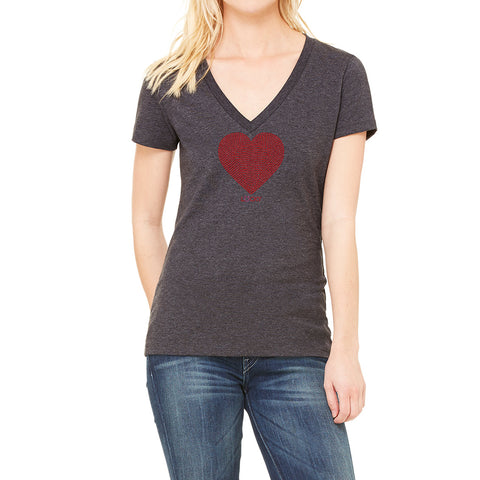 "RHINESTONES <font face=""Times New Roman""> <i> Lucky Heart </i> </font>  V Neck T-shirt. Made by Lucky Gambler"
