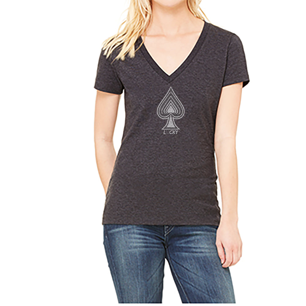 "RHINESTONES <font face=""Times New Roman""> <i> Lucky Spade </i> </font> V Neck T-Shirt Made by lucky gambler"