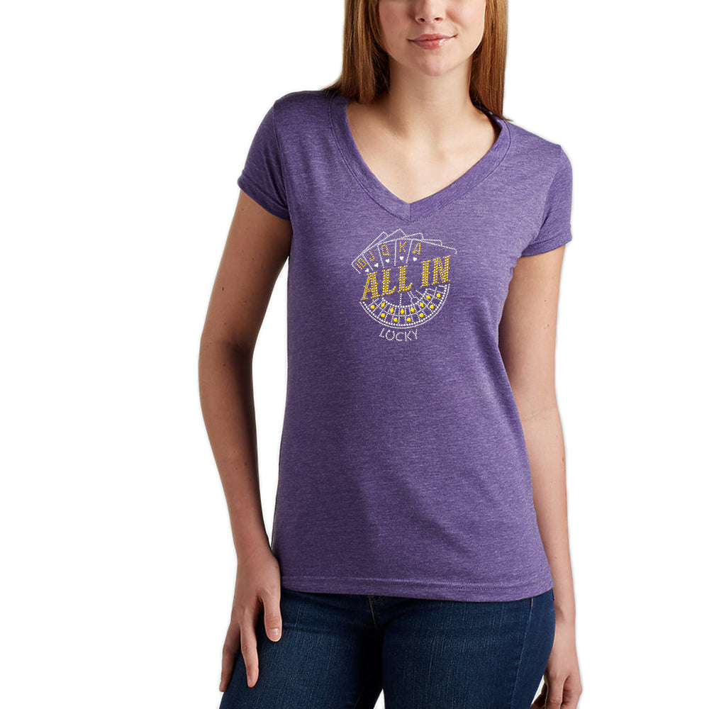 "Rhinestones <font face=""Times New Roman""> <i> Lucky ALL IN </i> </font> V Neck T-Shirt Made by Lucky Gambler"