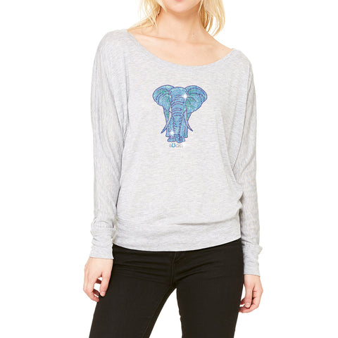 "RHINESTONES <font face=""Times New Roman""><i>Lady Elephant </i></font> Boat Neck T-Shirt. Made by Lucky B"