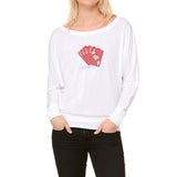 "RHINESTONES <font face=""Times New Roman""> <i> Lucky Red Royal Flush </i> </font> Boat Neck T-Shirt"