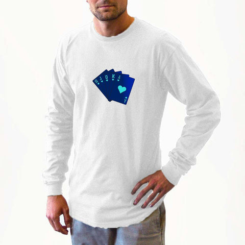 blue, royal flush, long sleeve shirts, long sleeve shirt, shirt, sweater, fall, winter apparel, fall apparel, sweatshirts, sweatshirt, gambler, poker, casino, slots, dice, lucky gambler, lucky gambler shop, lucky gambler clothing, gambling hats, lucky gambler apparel, horse racing, horse racing hats, horse racing, horse racing shirts, horse racing clothing, poker clothing, poker shirts, poker hats, poker games, poker casinos, t shirts, sweat shirts, las vegas, gambling apparel