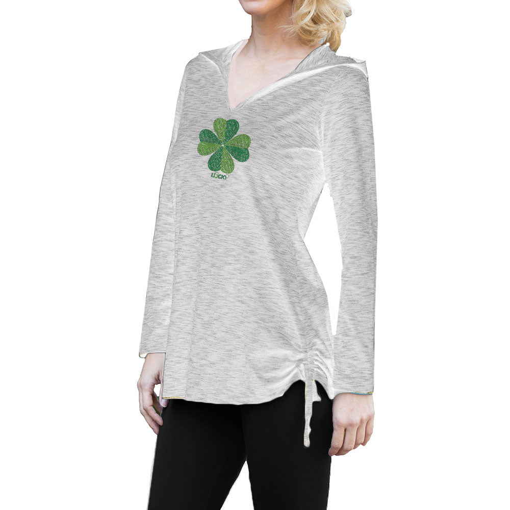 "RHINESTONES <font face=""Times New Roman""> <i> Lucky Shamrock </i> </font> New Age Hoodie"