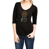 "Rhinestones <font face=""Times New Roman""> <i> Lucky Dream Catcher </i> </font> V Neck Slub Jersey"