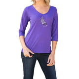 "Rhinestones <font face=""Times New Roman""> <i> Lucky Feather </i> </font> V Neck Slub Jersey"