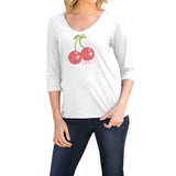 "Rhinestones <font face=""Times New Roman""> <i> Lucky Cherries </i> </font> V Neck Slub Jersey"