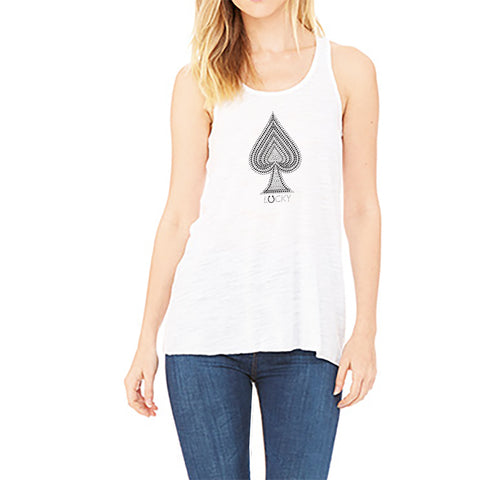 "RHINESTONES <font face=""Times New Roman""> <i> Lucky Spade </i> </font> Tank top. Made by Lucky Gambler."