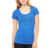 "Rhinestones <font face=""Times New Roman""> <i> Lucky Elephant </i></font> Scoop Neck T-Shirt. Made by Lucky Gambler"