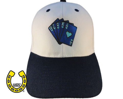blue royal flush, hats, caps, snapbacks, baseball hats, gambling apparel, gambler, poker, casino, slots, dice, lucky gambler, lucky gambler shop, lucky gambler clothing, gambling hats, lucky gambler apparel, horse racing, horse racing hats, horse racing, horse racing shirts, horse racing clothing, poker clothing, poker shirts, poker hats, poker games, poker casinos