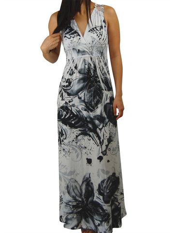 Premium Sleeveless Sublimation Maxi Dress White Black Floral Blossoms