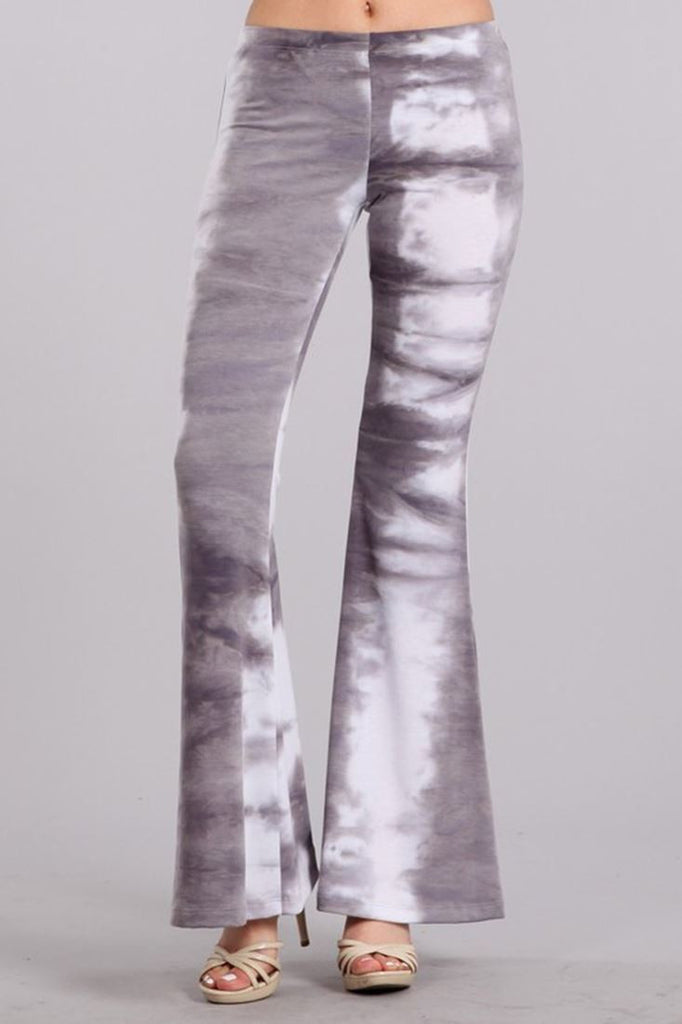 Bell Bottoms Yoga Stretch Pants Tie Dye 01 Gray White
