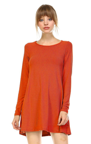 Tunic Top Long Sleeve Trapeze Dress Rust