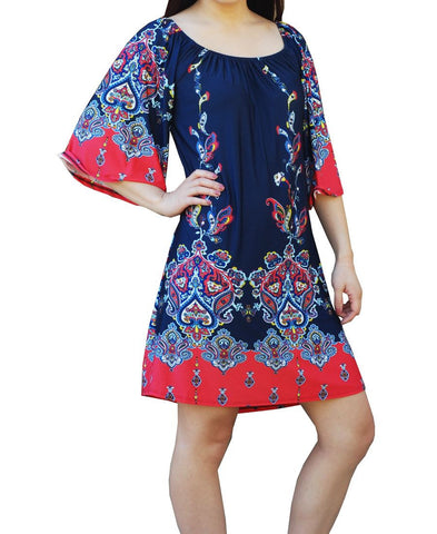 Off Shoulder Tunic Dress Navy Pink Paisley Borders