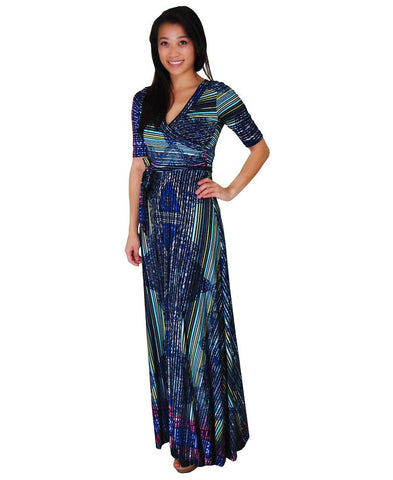 Maxi Dress with Sleeves Line Paisley Green Black