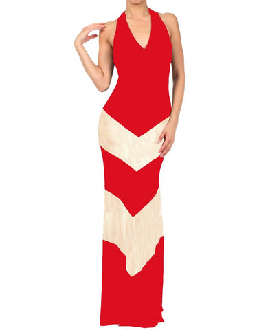 Halter Top Maxi Dress Chevron Red Taupe