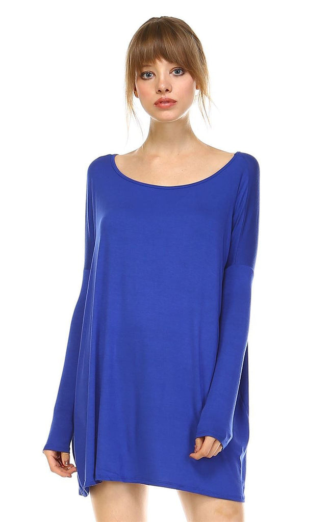 Tunic Top Casual Dress Oversized Round Neck Long Sleeve Royal Blue Small/Medium