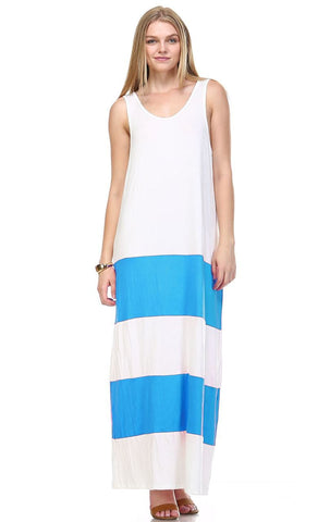 Racerback Maxi Dress Sleeveless White Blue