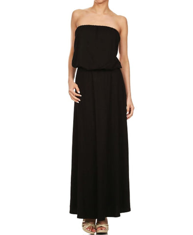 Strapless Elastic Waist Maxi Dress Black