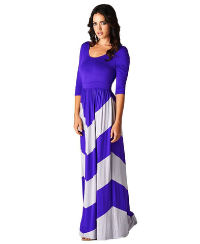 Maxi Dress 3/4 Sleeve Purple Gray