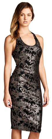 Shimmery Strappy Racerback Bodycon Dress with Paisley Print