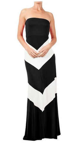 Maxi Dress Strapless Asymmetric Black White